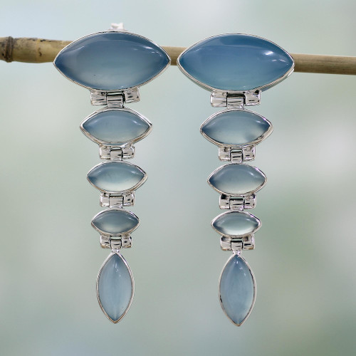 Sterling Silver and Chalcedony Earrings from India Jewelry 'India Blue'
