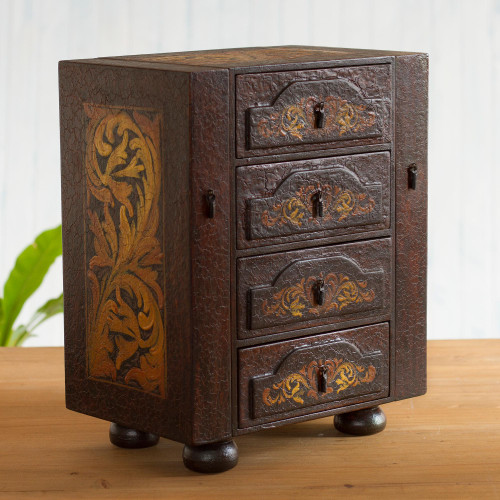 Hand Painted Cedar Jewelry Box from Peru 'Royal Heritage'