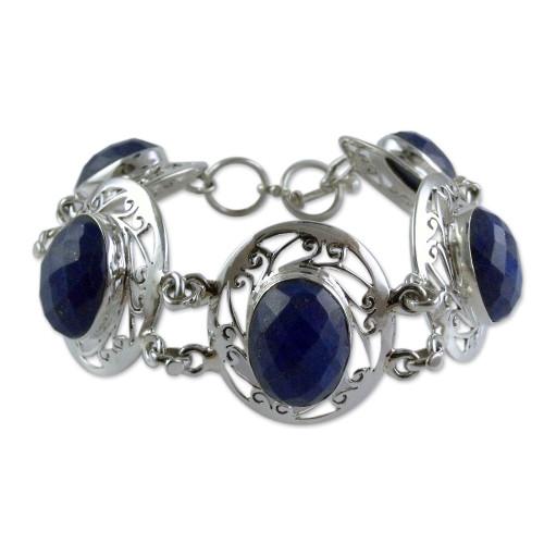 Women's Bracelet Sterling Silver and Lapis Lazuli Jewelry 'Seductive Blue'