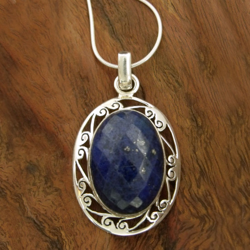 Women's Necklace Sterling Silver and Lapis Lazuli Jewelry 'Seductive Blue'