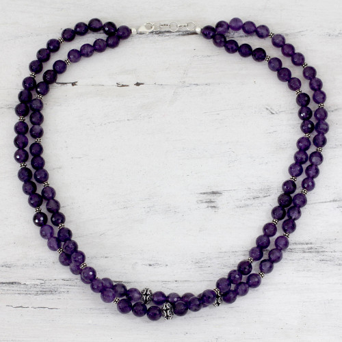 Amethyst strand necklace 'Wisdom's Fortune'