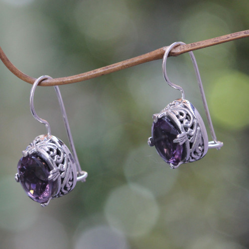 Handmade Sterling Silver Amethyst Drop Earrings 'Angel'