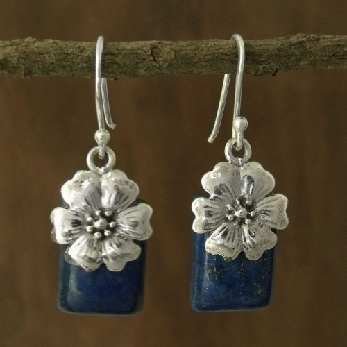 Fair Trade Floral Sterling Silver and Lapis Lazuli Earrings 'Blue Lily'