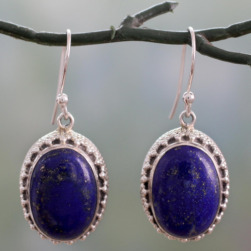 Hand Crafted Sterling Silver and Lapis Lazuli Earrings 'Blue Mystique'