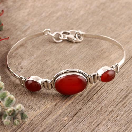 Sterling Silver and Carnelian Modern Bracelet Jewelry 'Mystique'