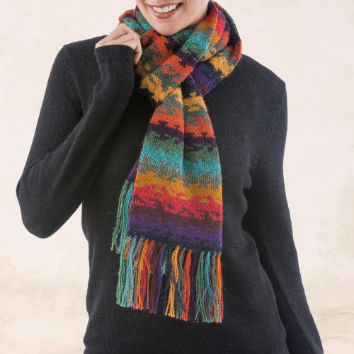 Alpaca Wool Striped Scarf from Peru 'Andean Twilight'