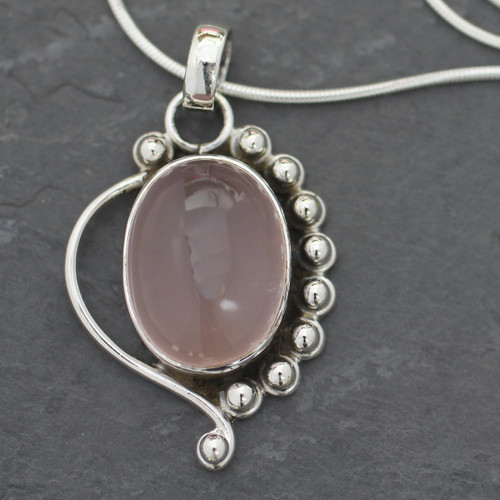 Handcrafted Sterling Silver and Rose Quartz Necklace 'Delhi Romance'