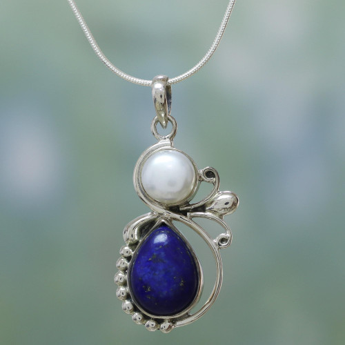 Hand Made Women's Sterling Silver Lapis Lazuli and Pearl 'Blue Midnight'