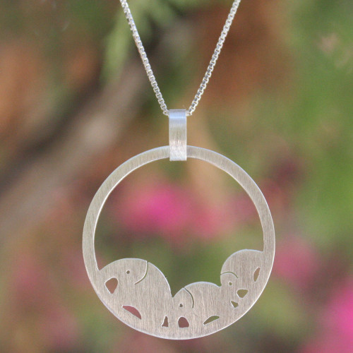 Handcrafted Sterling Silver Pendant Necklace 'Elephant Journeys'