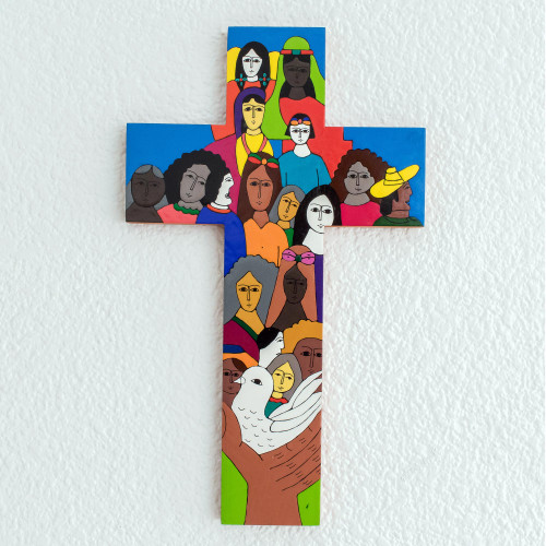 Handcrafted Multicolor Christianity Wood Cross 'Peace on Earth'