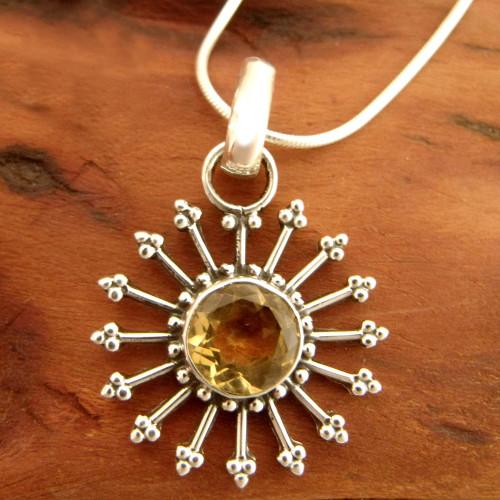 Fair Trade Citrine Sun Necklace in Sterling Silver  'Sunshine Daze'