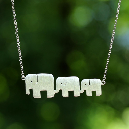 Hand Crafted Sterling Silver Pendant Necklace 'Elephant Pride'