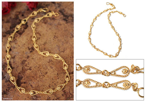 Handmade 21K Gold Plated Link Chain Necklace 'Love Knot'