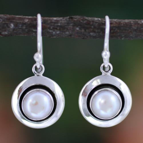 Artisan Pearl Jewelry Earrings from India 'Jaipur Magic Moon'