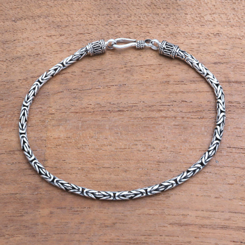 Sterling Silver Chain Bracelet 925 Artisan Jewelry from Bali 'Borobudur Collection II'