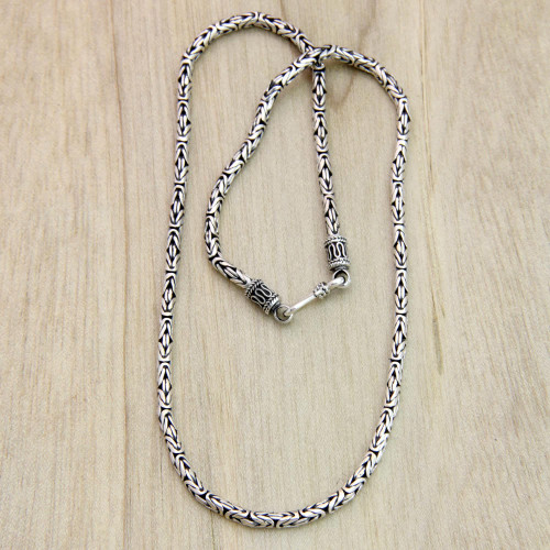 Hand Made Sterling Silver Chain Necklace 18 Inch 'Borobudur Collection I'