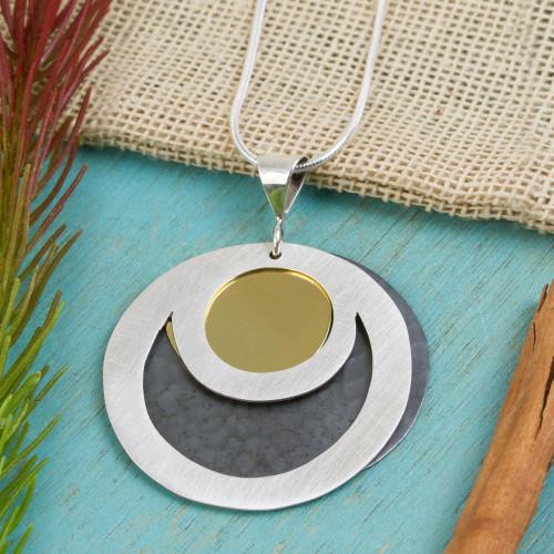 Sterling silver pendant necklace 'Maya Eclipse'