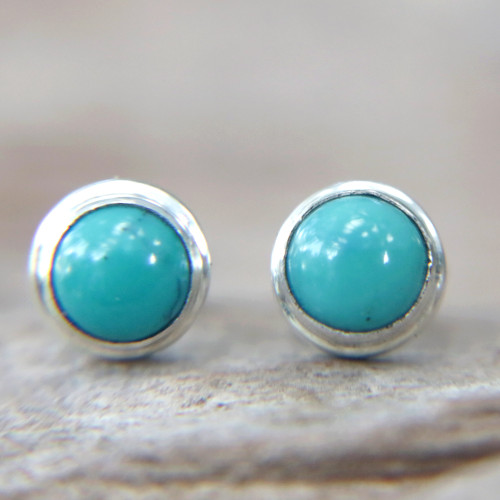 Silver and Reconstituted Turquoise Stud Earrings 'Blue Moons'