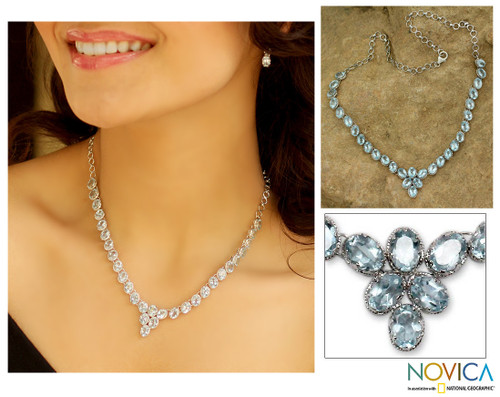 Blue topaz Y necklace 'India Delight'