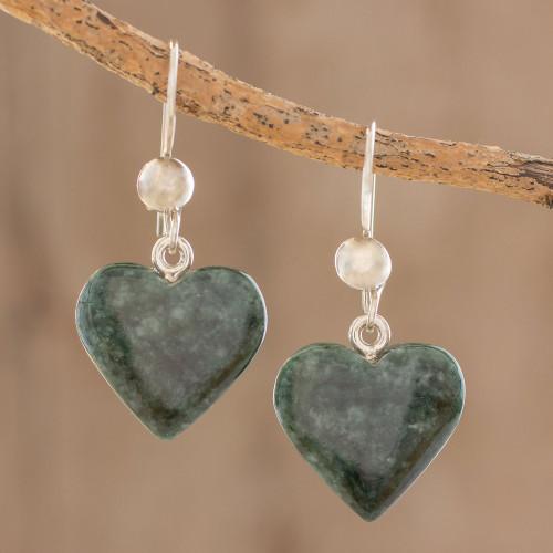 Heart Shaped Jade Dangle Earrings from Central America 'Love Immemorial'