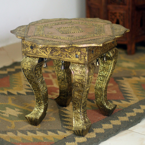 Handmade Wood Brass Accent Table Fair Trade 'Golden Lotus'