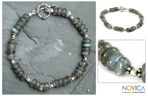 Hand Crafted Beaded Labradorite Bracelet 'Indian Rainbow'