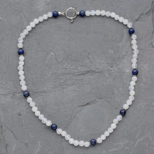 Rainbow Moonstone and Lapis Lazuli Beaded Necklace 'Jaipur Skies'