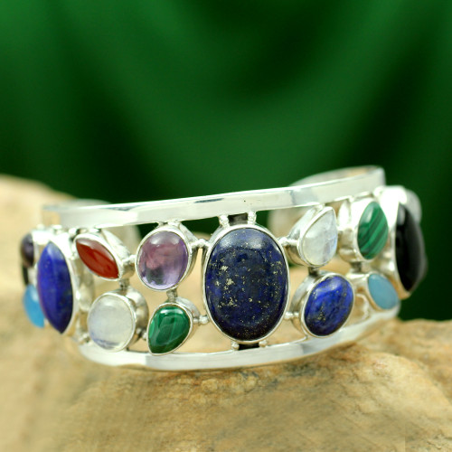 Sterling Silver Cuff Bracelet Multigemstone Jewelry 'Colors of Life'