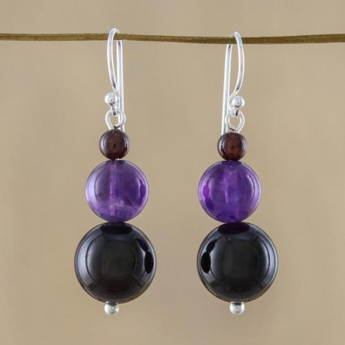 Beaded Garnet Earrings 'Sweet Love'