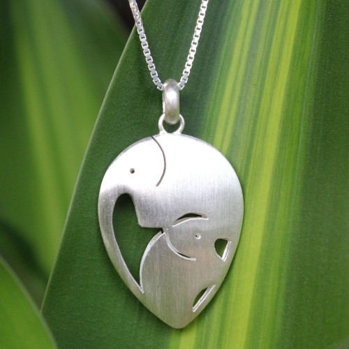Unique Sterling Silver Pendant Necklace 'Loving Elephants'