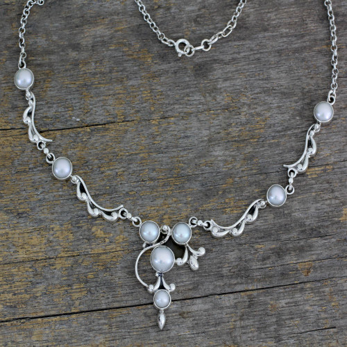 Pearl and Sterling Silver Necklace Bridal Jewelry 'Cloud Song'