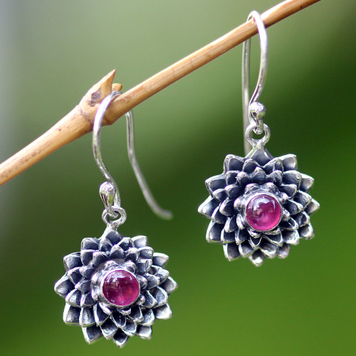 Sterling Silver and Ruby Dangle Earrings 'July Water Lily'
