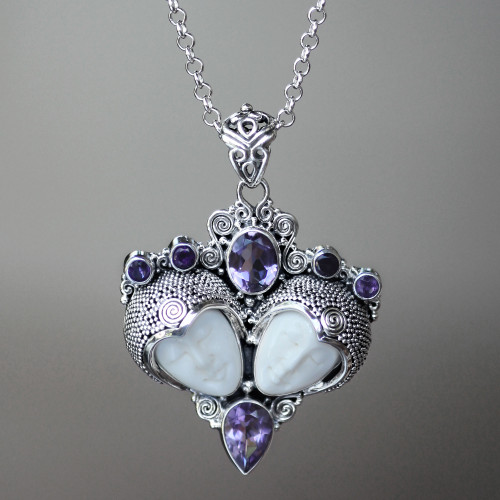 Sterling Silver and Amethyst Pendant Necklace 'Royal Romance'