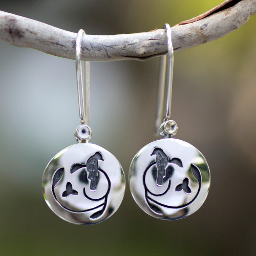 Hand Made Sterling Silver Bird Earrings from Mexico 'Hopeful Nightingale'