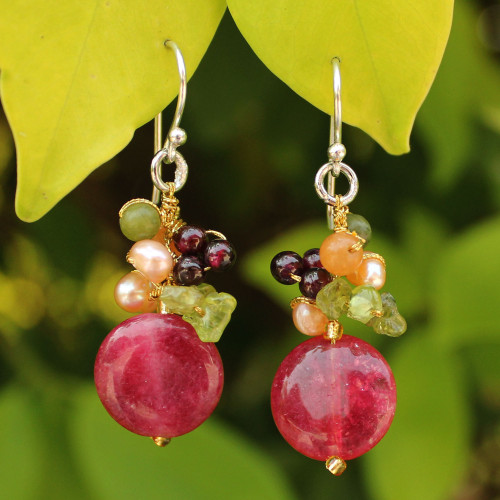 Gemstone Beaded Dangle Earrings 'Thai Joy'