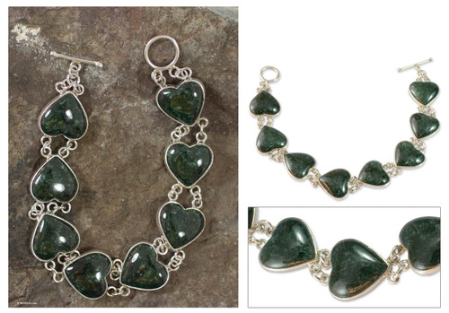 Heart Shaped Jade Sterling Silver Link Bracelet 'Love Immemorial'