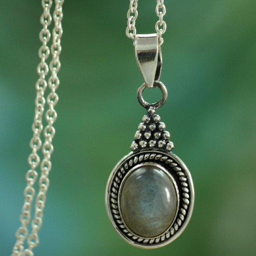 Sterling Silver Necklace with Labradorite Pendant from India 'Jaipur Mist'