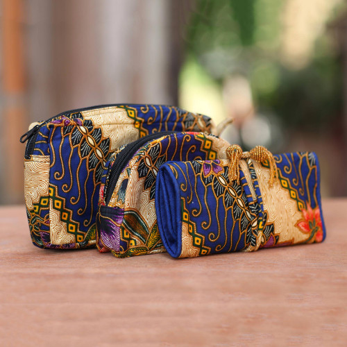 Handmade Batik Cotton Cosmetic Travel Bags Set of 3 'Jogjakarta Legacy'