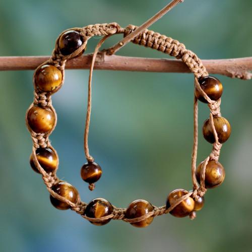 Hand Crafted Cotton Shambhala-style Tigers Eye Bracelet 'Oneness'