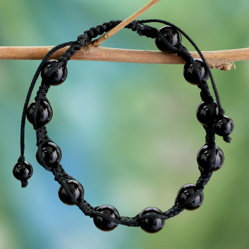 Onyx Beaded Macrame Bracelet Handmade Jewelry from India 'Oneness'