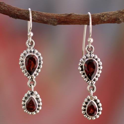 Garnet Earrings in Sterling Silver from India Jewelry ''Halo of Beauty''