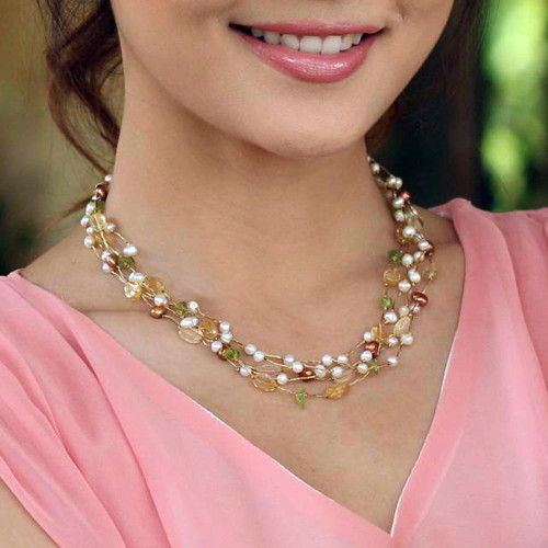Beaded Multigem Pearl Necklace 'Spring Awakening'