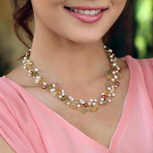 Beaded Multigem Pearl Necklace 'Spring Awakening'
