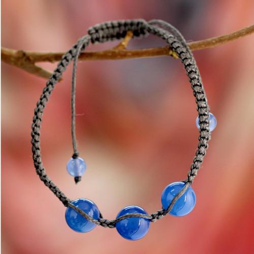 Blue Chalcedony Shambhala-style Macrame Bracelet from India 'Harmony'