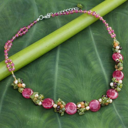Beaded Quartz Multigem Necklace from Thailand 'Peony Romance'