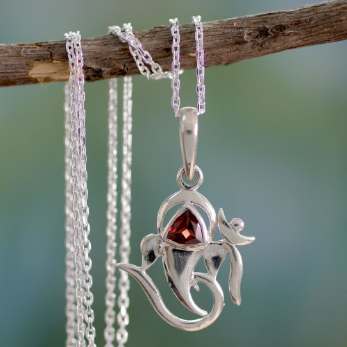 Sterling Silver and Garnet Necklace Hinduism Jewelry 'Mystical Ganesha'