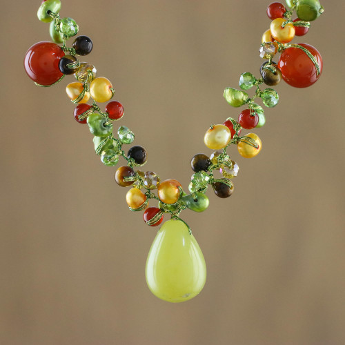 Pearl and Carnelian Choker 'Sunshine River'