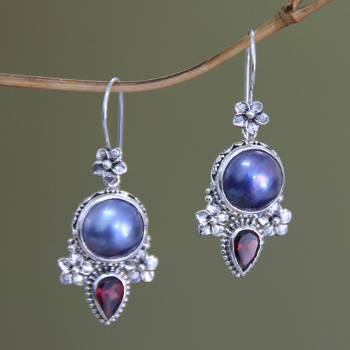 Pearl and Garnet Silver Dangle Earrings 'Frangipani Trio'