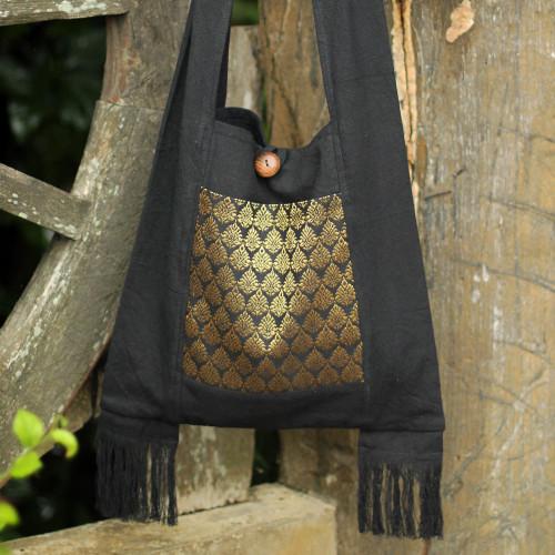 Brocade and Black Cotton Sling Bag 'Golden Lotus'