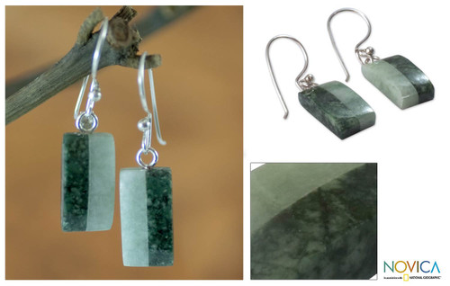Unique Good Luck Dangle Jade Earrings 'Life'
